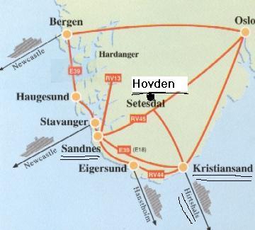 Kort med Kristiansand, Sandness og Hovden